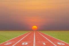 Running track in the sunrise Stock Photography