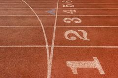 Running track texture with lane numbers royalty free stock images