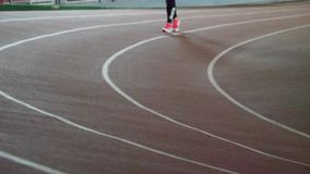 Running track in the track and field indoor arena. Running track in the track and field indoor arena stock video