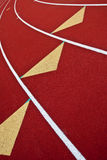 Running Track with Triangle. Running Track with yellow triangles and white lines Stock Photo