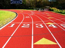 Running track turn. Royalty Free Stock Photos