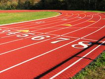 Running track turn. Stock Image