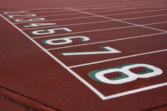 Running tracks with starting numbers Stock Images