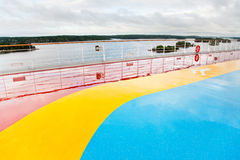 Running tracks on upper deck of cruise liner Stock Image