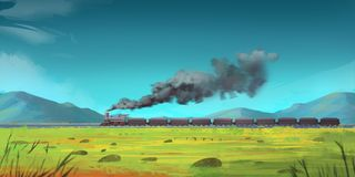Running Train through Mountains. Fiction Backdrop. Concept Art. Realistic Illustration. Video Game Digital CG Artwork. Nature Scenery vector illustration