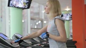 Running on a treadmill stock video footage