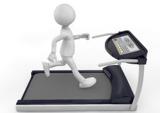 Running on a treadmill. 3d person running on a treadmill. white background Stock Images