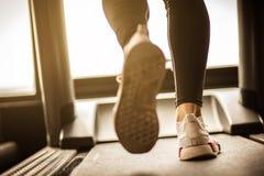 Running on treadmill. stock image