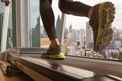 Running with treadmill Royalty Free Stock Photo