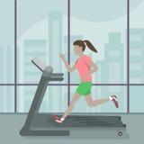 running treadmillkvinna vektor illustrationer