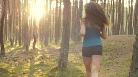 Running through the trees stock footage