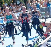 Running triathletes Stock Photo