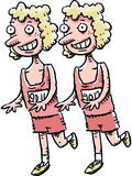 Running Twins. A pair of cartoon twins compete in a running race together Stock Images