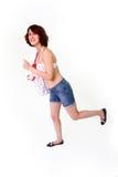 Running ung kvinna Arkivfoton