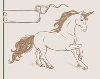 Running unicorn in vintage style. Vector hand drawn illustration. Hand drawn vector illustration in medieval style Stock Photo