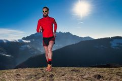 Running in unspoiled nature in the mountains.  stock images