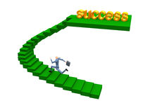 Running Up. 3d Businessman Running To Success stock illustration