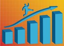 Running up. Graph blue bars on orange background Royalty Free Stock Photo