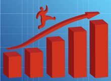 Running up. Graph red bars on blue background Royalty Free Stock Images