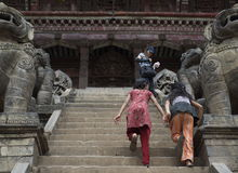 Running Up Temple Stairs in Bhaktapur Stock Image