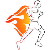 Running. Vector illustration of running man with fire flames Stock Image