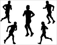 Running Vector Silhouettes Royalty Free Stock Photography