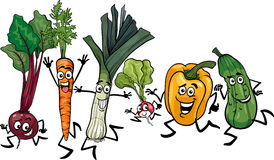 Running vegetables cartoon illustration. Cartoon Illustration of Happy Running Vegetables Food Characters Group Royalty Free Stock Photography