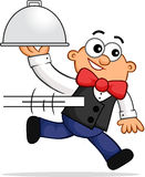 Running Waiter Cartoon Royalty Free Stock Images