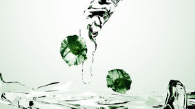 Running water in green. Flowing water with flowers in bright green tones. 3d illustration royalty free illustration