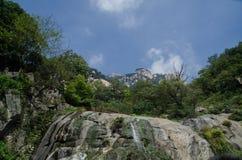 Running water on mountain Taishan. Photo taken on September 10 2014 royalty free stock photo