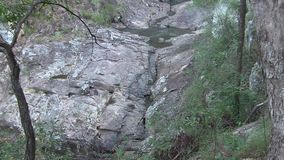Running water pools trickling over rock; zoom out to surrounding trees.. stock video footage