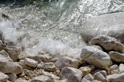 Running water in tides, ocean, Kefalonia, Greece Royalty Free Stock Images