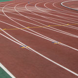 The running ways at the stadium with artificial coating of rubber Stock Image