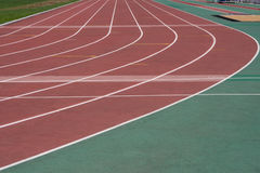 The running ways at the stadium with artificial coating of rubber Royalty Free Stock Photography