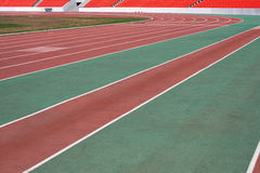 The running ways at the stadium with artificial coating of rubber Stock Photo