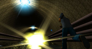 Man in a wet tunnel Stock Images