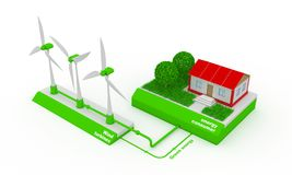 Running a wind Generator. Wind generator produces electricity and provide energy house Stock Image