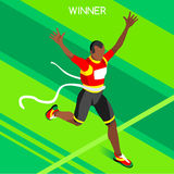Olympic Rio Brasil 2016 Running Winner Summer Games 3D Isometric Vector Illustratio. Olympic, paralympic, Rio, 2016, Olympic Rio Brasil 2016 Running Winner stock illustration