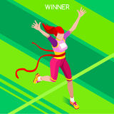 Running Winner Summer Games Isometric 3D Vector Illustration Royalty Free Stock Photos