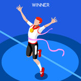 Olympic Rio Brasil 2016 Running Winning Man Summer Games Isometric 3D Vector. Olympics and Paralympics Game Rio Brasil 2016 Running Winning Man Athletics Summer vector illustration