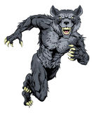 Running wolf mascot. Illustration of a wolf animal sports mascot or character sprinting Royalty Free Stock Image