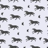 Running wolves and flying crows. Stock Photo
