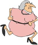 Running Woman. This illustration depicts a chubby woman running in a dress Royalty Free Stock Photos