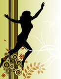 Running Woman. A grunge background of a floral design with a silhouette of a woman Stock Photography