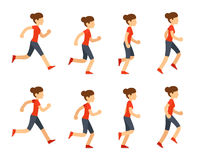 Running woman animation Royalty Free Stock Photo