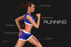 Running woman. Annotation anatomical muscle training. Royalty Free Stock Photo