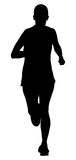 Running woman athlete. Black silhouette running woman athlete marathon Stock Photography