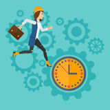 Running woman on clock background. Stock Images