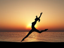 The running woman on coast of ocean Royalty Free Stock Image