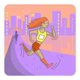 Running woman. Color sport poster, print or banner. Vector illustration of flat design Stock Images